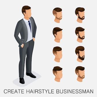 Moderno conjunto isométrico 6, estudo qualitativo, um conjunto de penteados masculinos, estilo hippie.