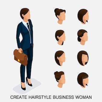 Moderno conjunto isométrico 6, penteados femininos. mulher de negócios jovem, penteado, cor de cabelo, isolada. crie uma imagem