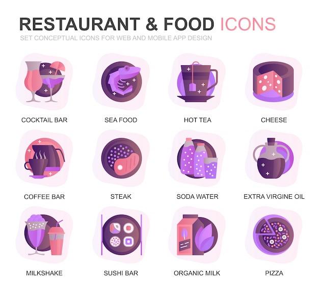 Moderno conjunto restaurante e comida ícones planos gradientes