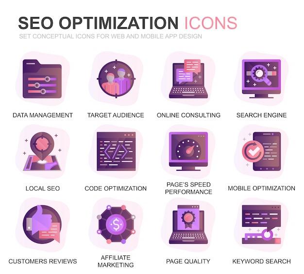 Moderno conjunto seo e web ícones planos de otimização de gradiente
