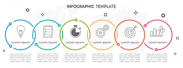 Moderno cronograma círculo infográfico 6 opções.
