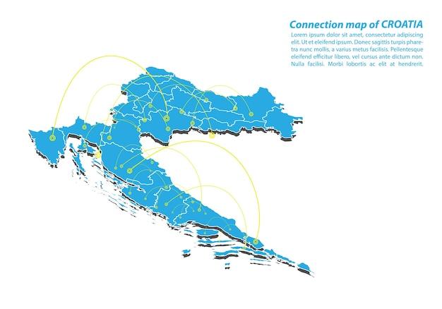 Moderno da croácia mapa conexões rede design