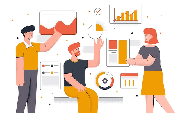 Moderno de análise de dados. jovem e mulher trabalhando juntos no projeto. trabalho de escritório e gerenciamento de tempo. fácil de editar e personalizar. ilustração
