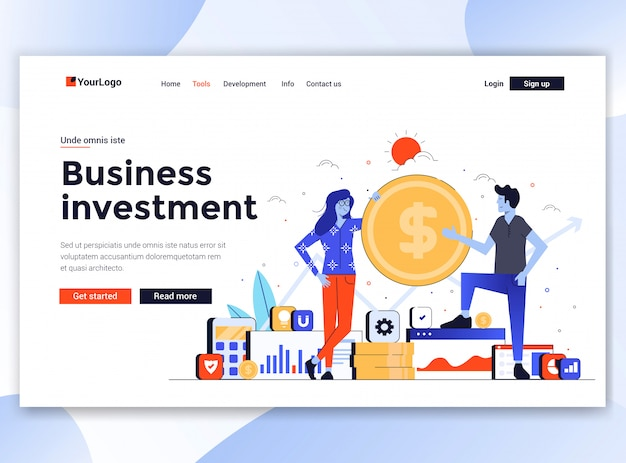 Moderno de modelo de site - investimento empresarial