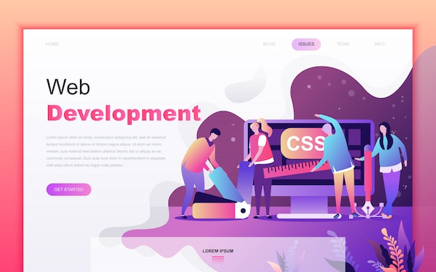 Moderno desenho plano de desenvolvimento web