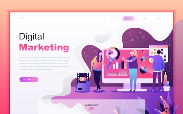 Moderno desenho plano de marketing digital
