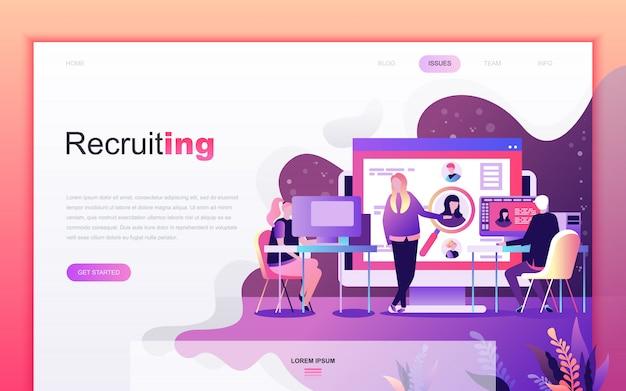 Moderno desenho plano de recrutamento de negócios