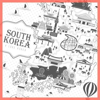 Moderno design de pôster de viagens para a coreia do sul em preto e branco
