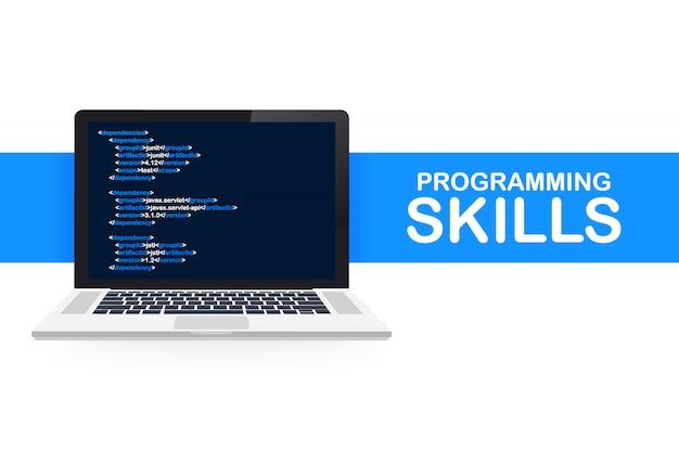 Moderno design plano isométrico de habilidades de programação para o site e site móvel. modelo de página de destino. ilustração.
