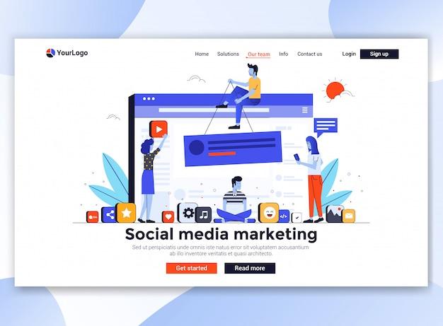 Moderno do modelo de site - social media marketing