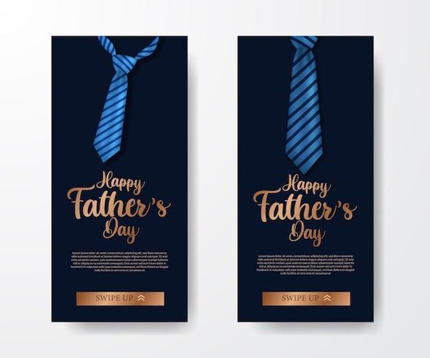 Moderno e elegante luxo nas mídias sociais banner convite para o dia dos pais com gravata de ilustração.