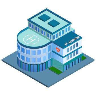 Moderno edifício de hospital urbano 3d com heliporto no telhado isométrico ilustração vetorial isolada