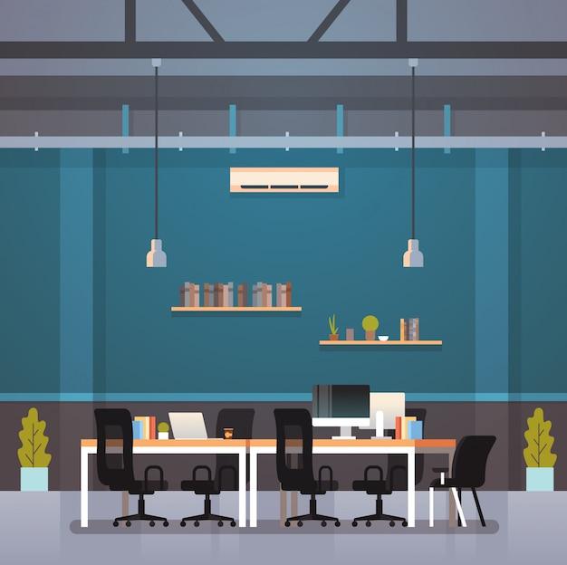 Moderno escritório interior local de trabalho mesa criativa co-trabalhando centro espaço de trabalho plano