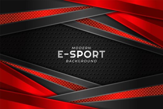 Moderno esport gaming banner diagonal camada sobreposta vermelha com fundo escuro