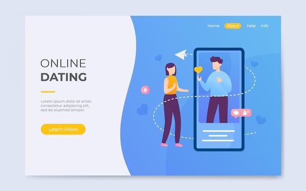 Moderno estilo plano on-line namoro app landing page ilustração de fundo