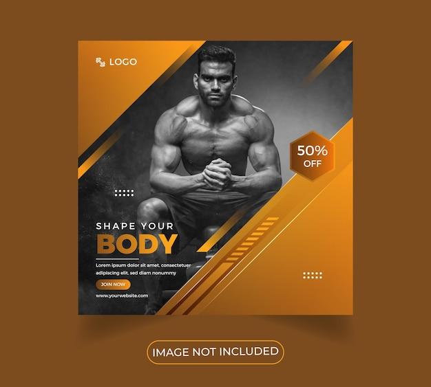 Moderno fitness workout gym social media design de poster modelo premium vector