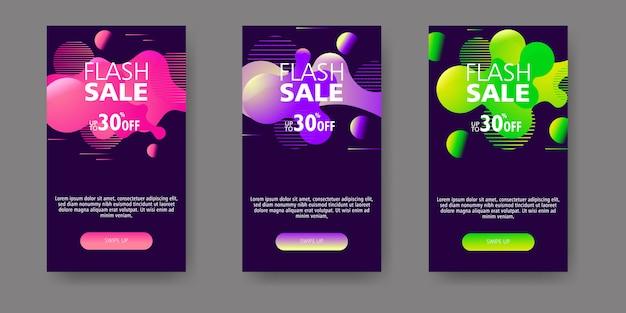 Moderno fluido móvel para banners de venda em flash. projeto de modelo de banner de venda, conjunto de oferta especial de venda flash.