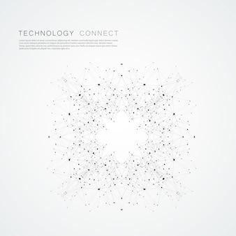 Moderno fundo conectado com formas geométricas, linhas e pontos