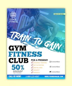Moderno ginásio & fitness flyer com modelo de design de estilo de rancor