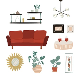 Moderno interior higiênico escandinavo em estilo boho estantes de sofá vermelho plantas espelho, decoração de casa com abajur, conjunto de móveis plano