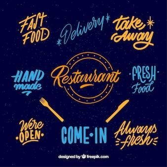 Moderno, jogo, de, restaurante, emblemas