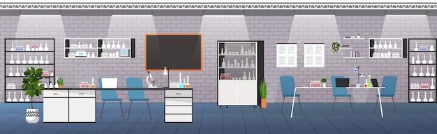 Moderno laboratório interior vazio sem pessoas laboratório médico com móveis e tubos de ensaio ilustração vetorial horizontal