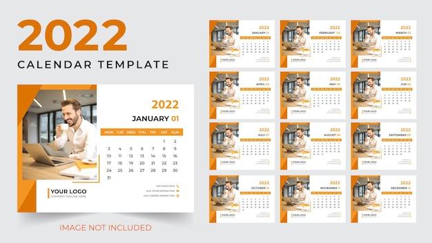Moderno modelo de design de calendário de mesa de 2022 para o ano novo vetor