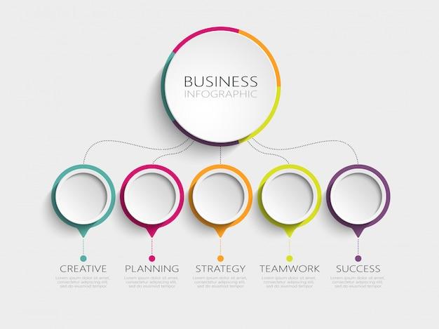 Moderno modelo de infográfico 3d com 5 etapas para o sucesso