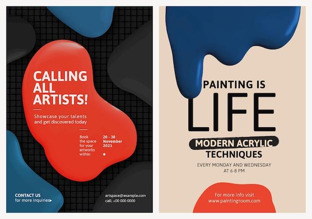 Moderno modelo de tinta colorida vetor evento colorido cartaz de anúncio duplo