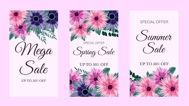Moderno modelo floral editável para histórias do instagram histórias venda banner background cartaz cupom