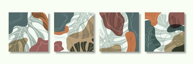 Moderno modelo quadrado abstrato com conceito de folhas tropicais