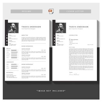 Moderno modelo simples para currículo e carta de apresentação
