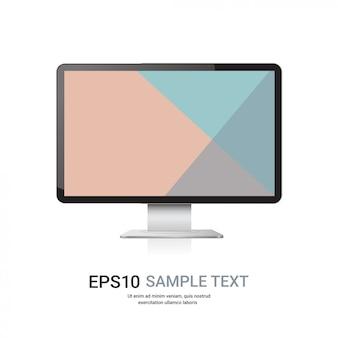 Moderno monitor de computador, tela colorida, maquetes e dispositivos realistas
