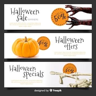 Moderno pacote de banners de venda de web de halloween