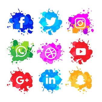 Moderno pacote de ícones de mídia social de barra de aquarela