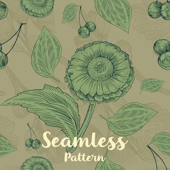 Moderno padrão floral sem costura com flores, folhas e cerejas
