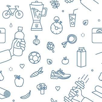 Moderno padrão sem emenda com atributos de estilo de vida saudável, desenhados com linhas de contorno azuis sobre fundo branco - equipamentos esportivos, comida saudável. ilustração em vetor monocromática em estilo de linha de arte.