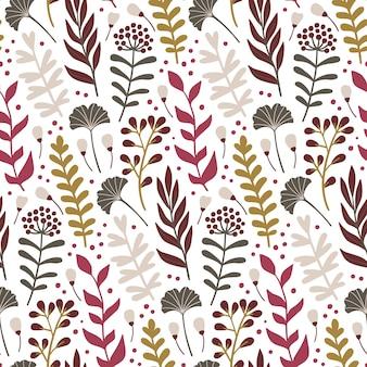 Moderno padrão sem emenda com folhas e elementos florais.