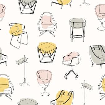 Moderno padrão sem emenda com mobiliário elegante, desenhado com linhas de contorno em manchas coloridas e fundo branco