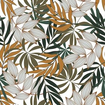 Moderno padrão tropical sem costura com flores brancas e amarelas brilhantes