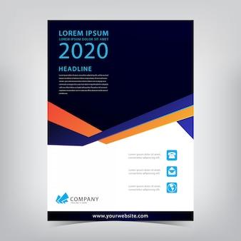 Moderno panfleto azul escuro com linhas de dobra