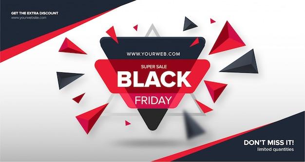 Moderno preto sexta-feira banner com formas abstratas