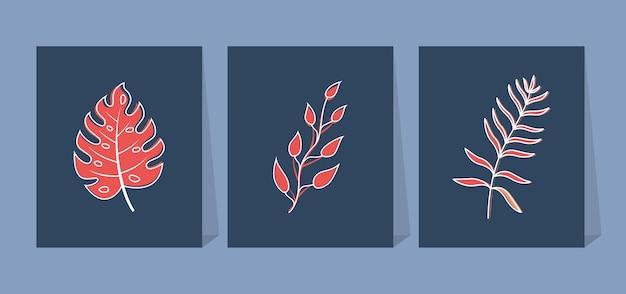 Moderno quadrado abstrato com folhas. adequado para postagens em redes sociais