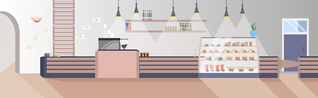 Moderno restaurante fast-food vazio ninguém expressa café interior plana horizontal