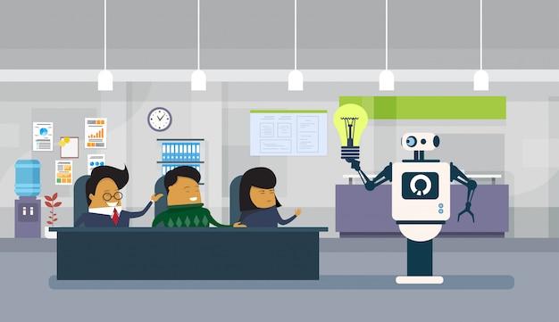 Moderno, robô, dar, bulbo leve, para, grupo, de, asiático, pessoas negócio sentando