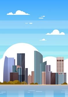 Modernos, cidade, vista, cingapura, arranha-céus, sobre, céu azul, cingapuriana, cityscape, ilustração