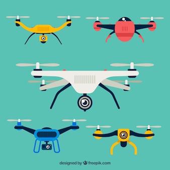 Modernos drones com estilo colorido