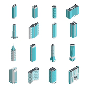Modernos muitos edifícios e arranha-céus