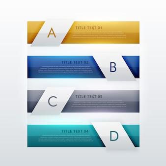 Modernos quatro etapas do projeto do molde infográfico para apresentações de negócios ou de layout diagrama de fluxo de trabalho