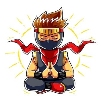 Modo de meditação do menino ninja.
